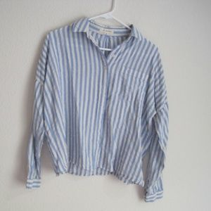 Pacsun LA Hearts Blue Striped Button Up - Size S